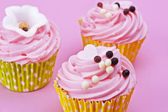 与巧克力球的三甜点杯形蛋糕在桃红色后面 图库摄影