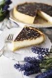 与巧克力釉的乳酪蛋糕 免版税库存图片