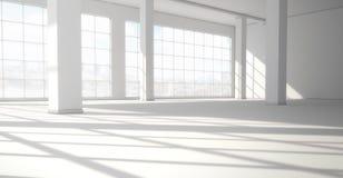 与巨大的全景窗口的空的现代明亮的内部 3d ren 向量例证