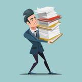 与巨大的堆的劳累过度的商人文件 文书工作 向量例证