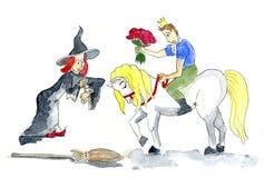 与巫婆的王子会谈 免版税库存照片