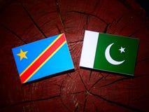 与巴基斯坦旗子的刚果民主共和国旗子在tr 免版税图库摄影