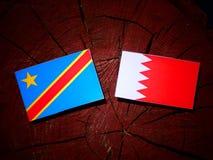 与巴林旗子的刚果民主共和国旗子在tr 库存照片