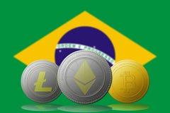 与巴西旗子的Litecoin Ethereum Bitcoin cryptocurrency在背景 免版税库存图片