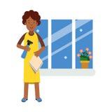 与布料的美丽的年轻黑人妇女洗涤的窗口和擦净剂喷雾器、家庭清洁和家庭作业例证 皇族释放例证
