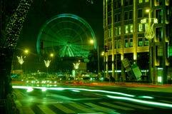与布达佩斯眼睛的Nightscape从Andrassy街,匈牙利 库存照片