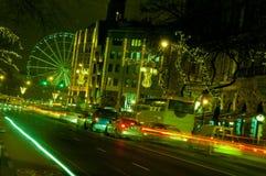 与布达佩斯眼睛的Nightscape从Andrassy街,匈牙利 免版税图库摄影