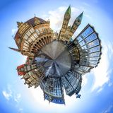 与布里曼主要集市广场,德国地平线的微小的行星  免版税库存照片