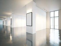 与帆布的空白的露天场所画廊内部 3d 库存照片