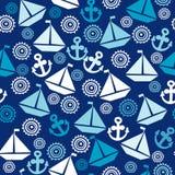 与帆船、船锚和风格化s的动画片无缝的样式 免版税图库摄影