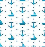 与帆船和船锚,船舶蓝色的无缝的样式 免版税库存照片