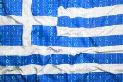 与希腊旗子的二进制编码,数据保护概念 免版税图库摄影