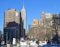 与帝国大厦, NYC的曼哈顿地平线 免版税库存照片