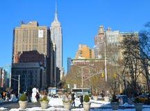 与帝国大厦, NYC的曼哈顿地平线 库存照片