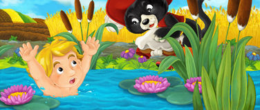与帮助年轻男孩离开水的猫的动画片愉快的场面 库存例证