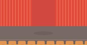 与帷幕、位子和聚光灯的剧院阶段 库存例证