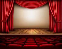与帷幕的戏院或剧院场面 向量例证