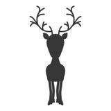 与常设驯鹿的剪影黑白照片 库存图片