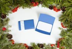 与常青杉树,锥体,霍莉莓果的圣诞节框架 库存图片