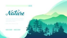 与常青树的森林风景 保存地球 库存例证