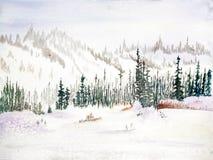 与常青树-水彩的积雪的山 免版税库存图片