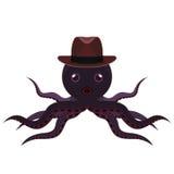 与帽子动画片的章鱼 免版税图库摄影