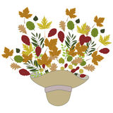 与帽子和叶子的秋天背景 库存图片