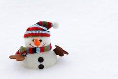 与帽子和围巾的雪人 库存照片