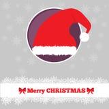 与帽子的圣诞卡模板 免版税库存照片