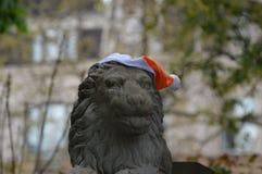 与帽子的石狮子 免版税图库摄影