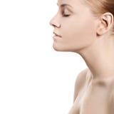 与干净的皮肤的美丽的妇女的表面 免版税库存图片