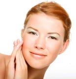 与干净的纯度皮肤的美丽的健康妇女表面 库存图片