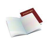 与干净的页的传染媒介开放国际护照模板 免版税库存照片
