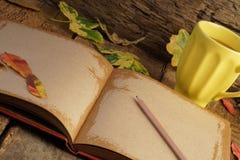 与干叶子和咖啡的秋天模板 免版税库存图片