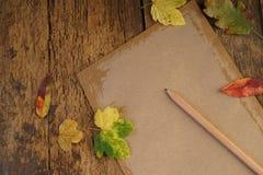 与干叶子和笔记本的秋天模板 免版税库存照片