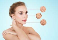 与干性皮肤样品的美丽的少妇面孔 免版税库存照片