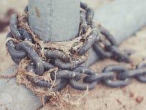 与干海草的老金属链子在湖海洋海岸 图库摄影