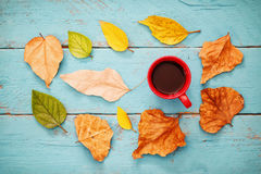 与干燥叶子和热的咖啡的秋天背景 免版税图库摄影