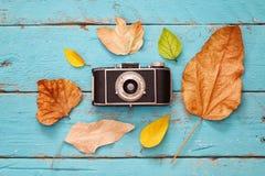 与干燥叶子和老照相机的秋天背景 库存图片