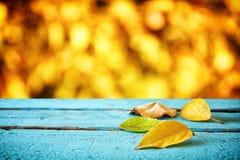 与干燥叶子的秋天背景在木桌上 库存图片