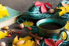 与干燥叶子的秋天背景,围巾、咖啡用香料和葡萄酒预定 免版税库存图片