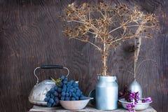 与干燥大草原多刺的花和葡萄的静物画 免版税图库摄影