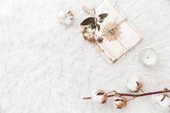 与干燥花、棉花和老信件的平的位置构成 免版税库存照片