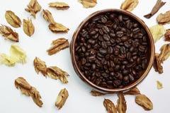 与干燥花的咖啡豆 免版税库存图片