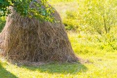 与干草堆的农村风景 库存照片