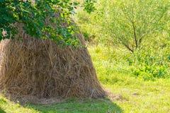 与干草堆的农村风景 免版税库存图片