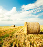 与干草堆的美好的农厂风景 免版税库存照片