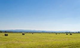与干草的风景 免版税库存照片
