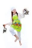 与平底锅的舞蹈 免版税库存照片