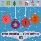 与平的圣诞节象的圣诞快乐和新年快乐2015年背景 图库摄影